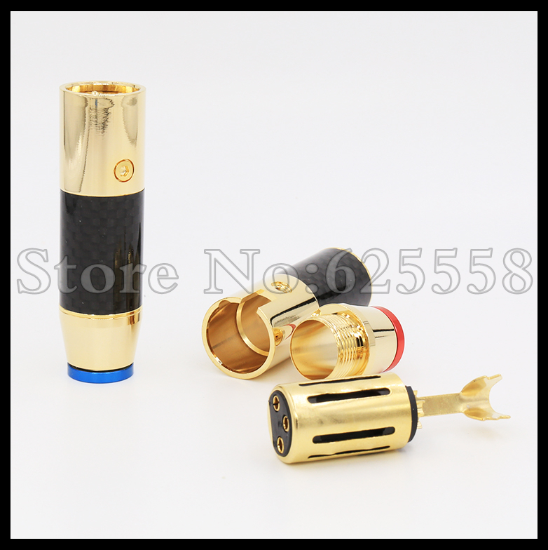 Hi-End Rhodium plated Carbon Fiber audio XLR plug Female plug 4pcs viborg vb202r hi end rhodium plated lock speaker cable banana plug connector x