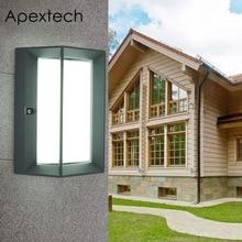 Apextech Nordic Style LED Wall Lamp 12W Aluminum Porch Wall Light Outdoor Waterproof Garden Balcony Gate Wall Mounted Lights недорого