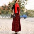 2016 Nueva Moda de invierno falda larga elástico de la cintura falda de lana espesar otoño invierno una línea de falda maxi ocasional de las mujeres personalizada hecho