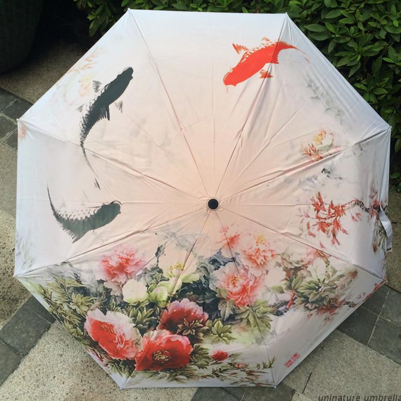 100% Brand Sun Protection Umbrella 3 Folding Novelty Umbrella Flower Black Hole Umbrella Brand Umbrella Sombrillas UV-in Umbrellas from Home & Garden    1