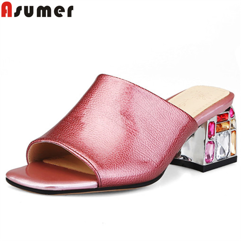 ASUMER big size 34 43 summer sandals for women slingback square high heels shoes crystal ladies