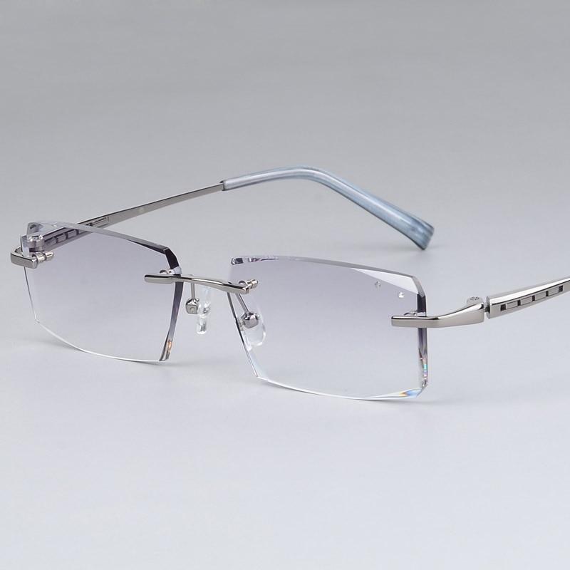 eaa1f2871ed3 Luxury Eyeglasses Rimless Men Myopia Prescription Eye Glasses Diopter  Rhinestone High Clear Lenses gentlemen Reading Eyewear-in Reading Glasses  from Apparel ...