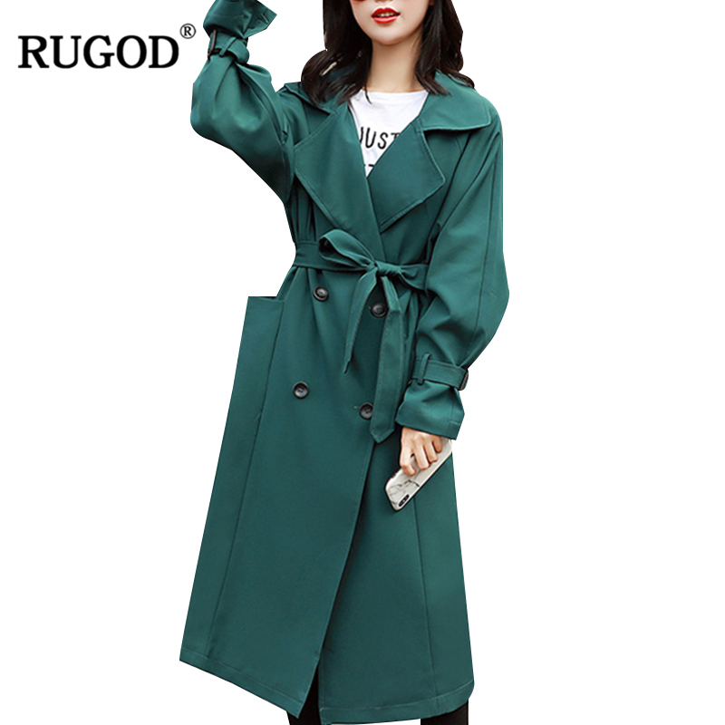 RUGOD 2018 Vintage Fashion Female X-Long Style Coat Turn-down Collar Solid Wide-waisted Single Breasted   Trench   Coat For Women