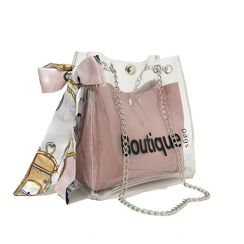 Fashion 2019 Design Luxury Brand Women Transparent Bag Clear PVC Jelly Small Tote Messenger Bags Female