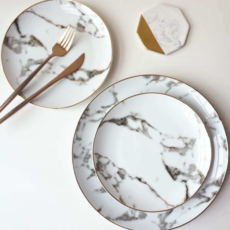 8 polegada + conjunto polegada 1 10 europeu estilo Americano mármore Dourada gumes dourada prato Bife prato pratos de sobremesa porcelana Prato De Peixe