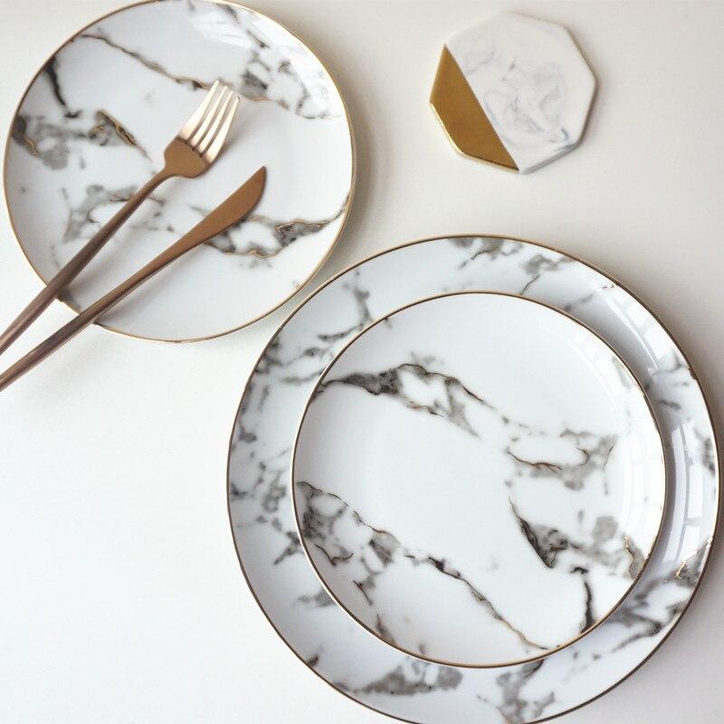 Européenne 8 pouce + 10 pouce 1 set Américain style Doré tranchant marbre d'or dîner plaque Steak plat assiettes à dessert porcelaine Poissons Plaque