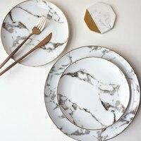 European 1 SET American style Gilt edged marble golden dinner plate Steak dish dessert plates Porcelain Fish Plate Wholesale