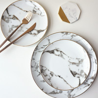 European 8inch+10inch 1 set American style Gilt edged marble golden dinner plate Steak dish dessert plates Porcelain Fish Plate