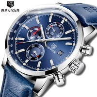 2018 BENYAR Watches Men Luxury Brand Quartz Chronograph Watch Fashion Sport Automatic Date Leather Men's Clock Relogio Masculino