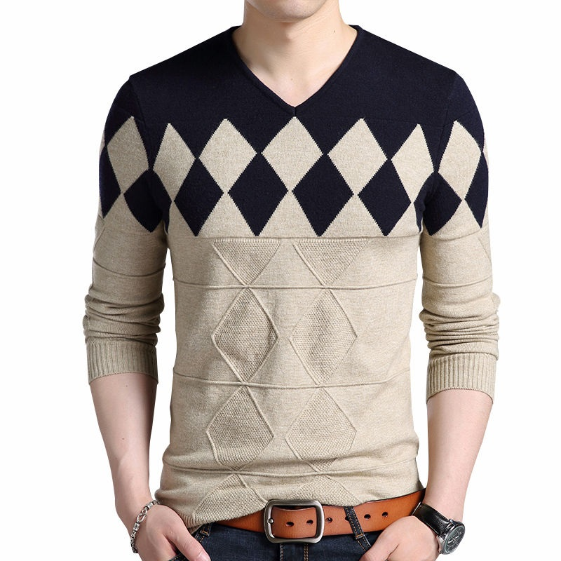 Cashmere Wool Sweater Men 2019 Autumn Winter Slim Fit Pullovers Men Argyle Pattern V-Neck Pull Homme Christmas Sweaters
