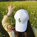 Coreia do sul ulzzang bordado cactus digital branco puro boné de beisebol das mulheres tampas casuais