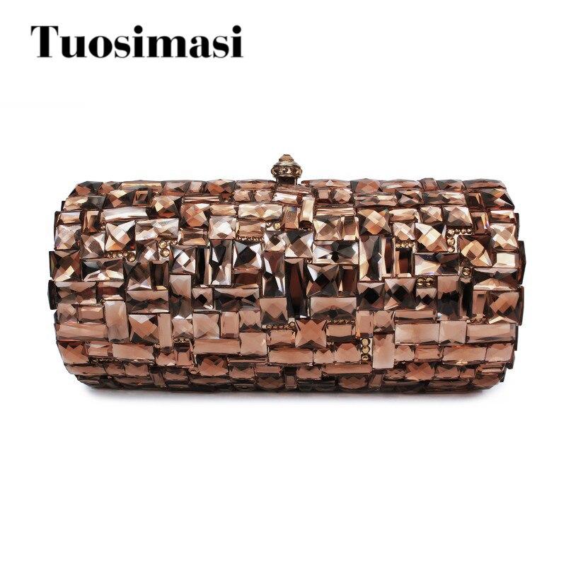 Brown clutch diamond women handbag wedding party purse clutch bag(B1032-HG) clutch adriana muti clutch