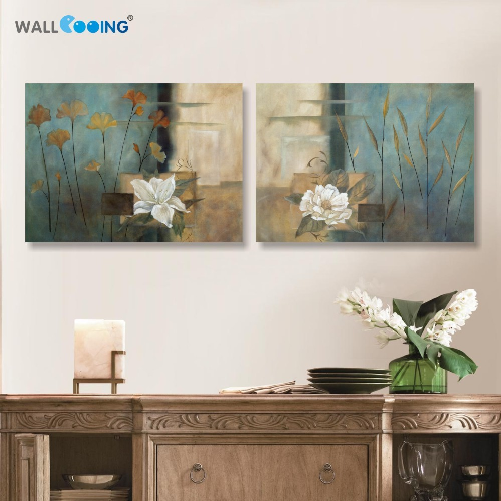 2 pcs canvas vintage flower painting Modular pictures painting for background setting spray painting on the wall in the bedroom
