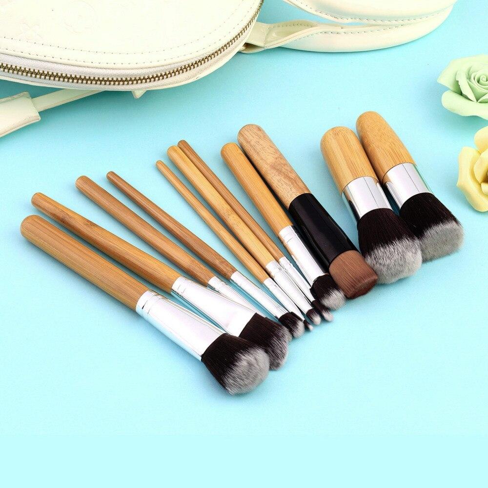 все цены на  High Quality 11pcs Bamboo Handle Foundation Blending Makeup Brushes Set + Flat Angled Brush  онлайн