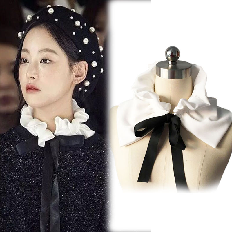 Vintage Detachable Fashion Blouse Detachable False Fake Collar Lace Neck-tie Wooden Ear New Shirt Fake Collar White & Black Tie