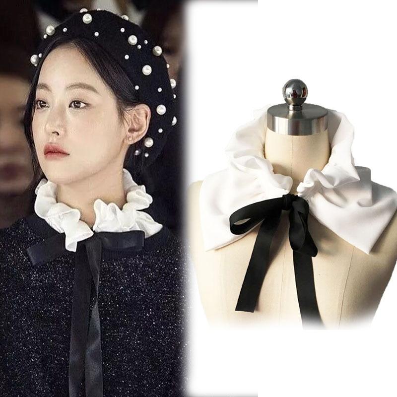 Vintage Detachable Fashion Blouse Detachable False Fake Collar Lace Neck-tie Wooden Ear New Shirt Fake Collar White & Black Tie