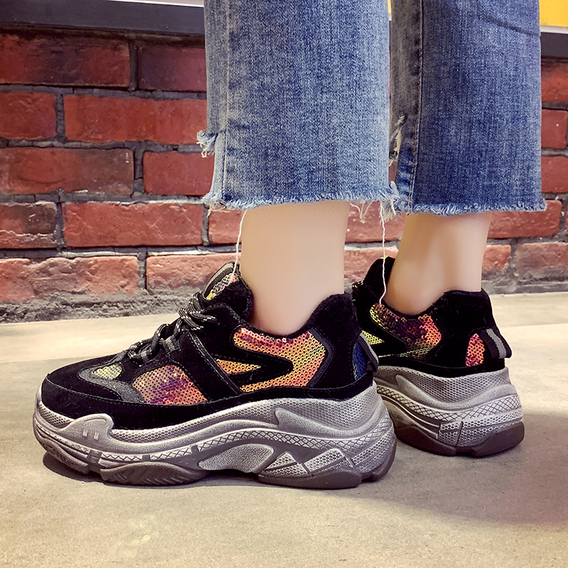 2018 Autumn/Winter New Chunky Sneakers Women Bling Distressed Platform Dad Shoes Casual Harajuku Sneakers Plush Warm Women Shoes