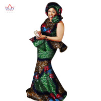 2018 Private Custom African Dress Bazin Riche Women Dress Suit Short Sleeve Tops and Long Print Skirt Large Size M 6XL WY2724
