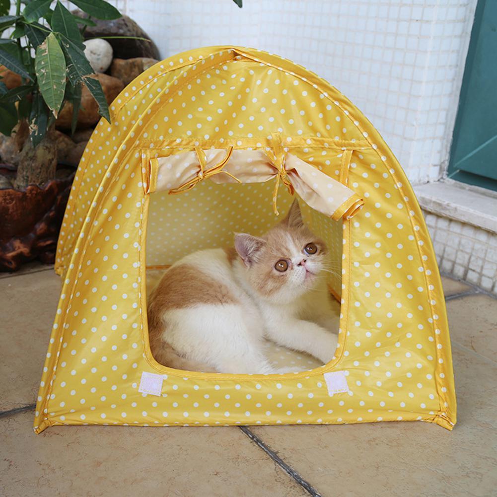 Простой точечный узор анти-москитная складная палатка для домашних собак и котов гнездо - Color: Yellow dots