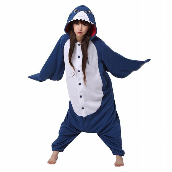 font b Women b font Men Blue Shark Cosplay Pajama Cartoon Animal Onesies Costume Halloween