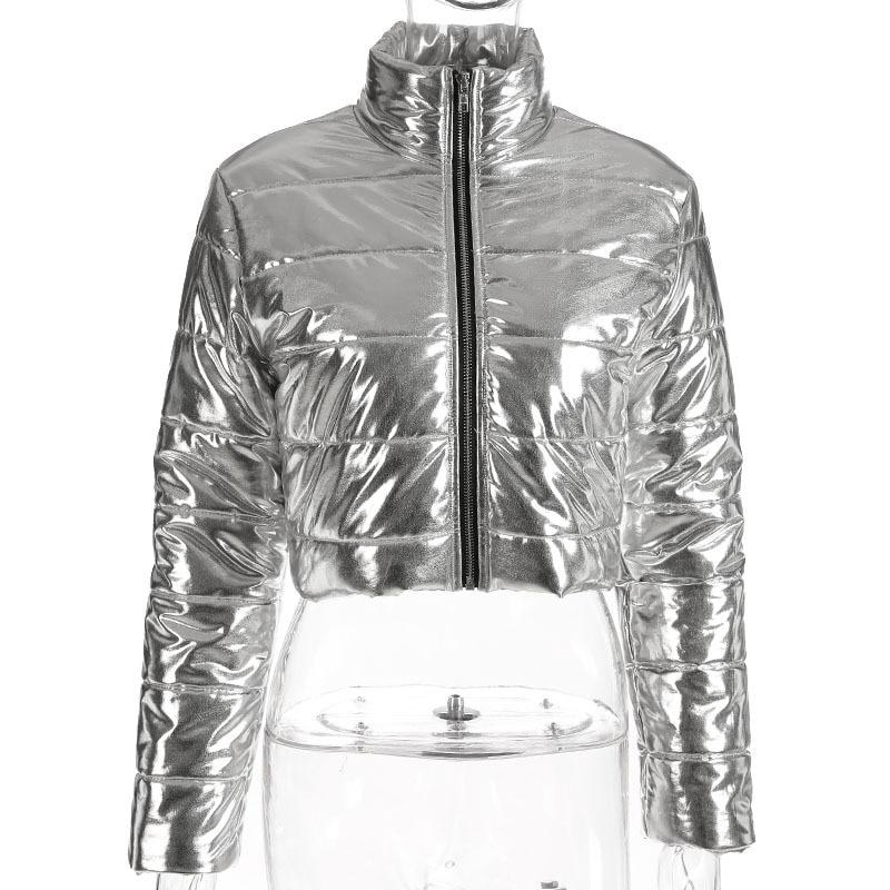 Korean Style Winter Coats Short Parka Jacket Women Turtleneck Long Sleeve Silver Down Crop Coat Casual Outwear Parkas Overcoat