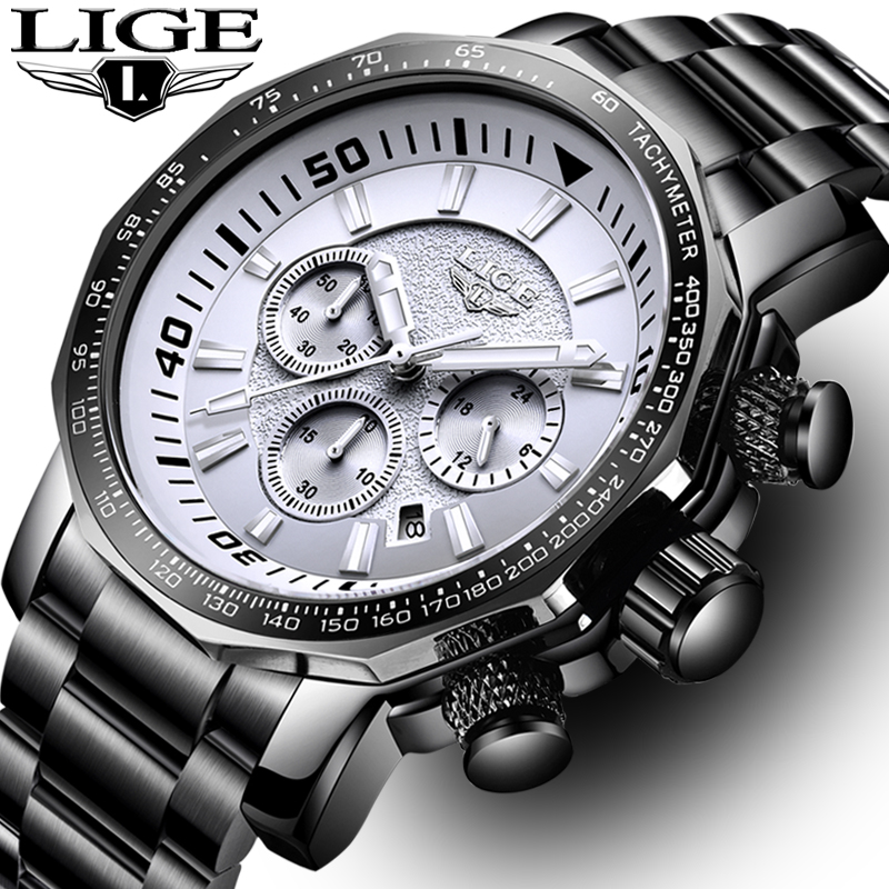 Relogio Masculino Men Watch LIGE Top Brand Luxury Fashion Quartz Clock Men's All Steel Waterproof Big Dial Military Sport Watch