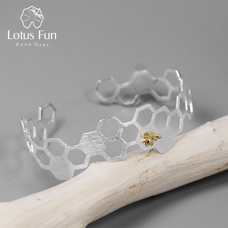 Lotus Fun Real 925 Sterling Silver Natural Handmade Fine Jewelry Creative Honeycomb Home Guard Bangle for