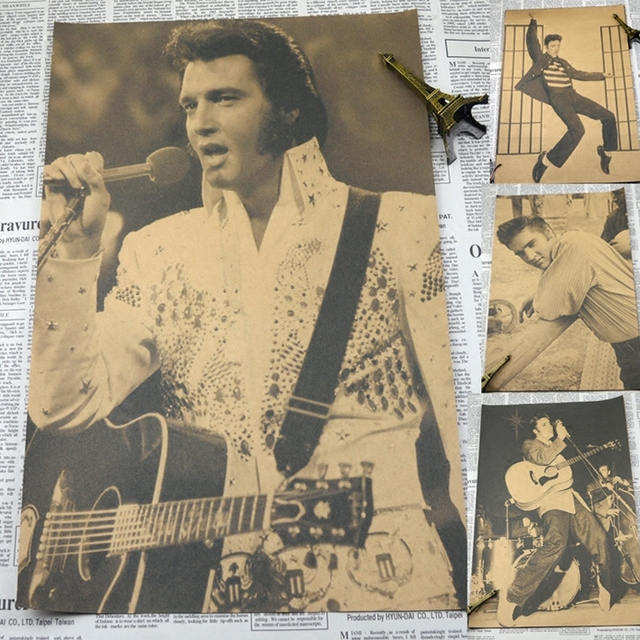"Vintage נייר רטרו פוסטר אלביס פרסלי כרזות מוסיקת רוק אנד רול אישית vintage חדר קישוט קיר מדבקה 30*21 ס""מ"