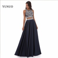 Two Pieces Evening Dress Party Dresses Vestido De Festa Longo A Line Beading Scoop Sleeveless Long Prom Gowns Robes De Soiree