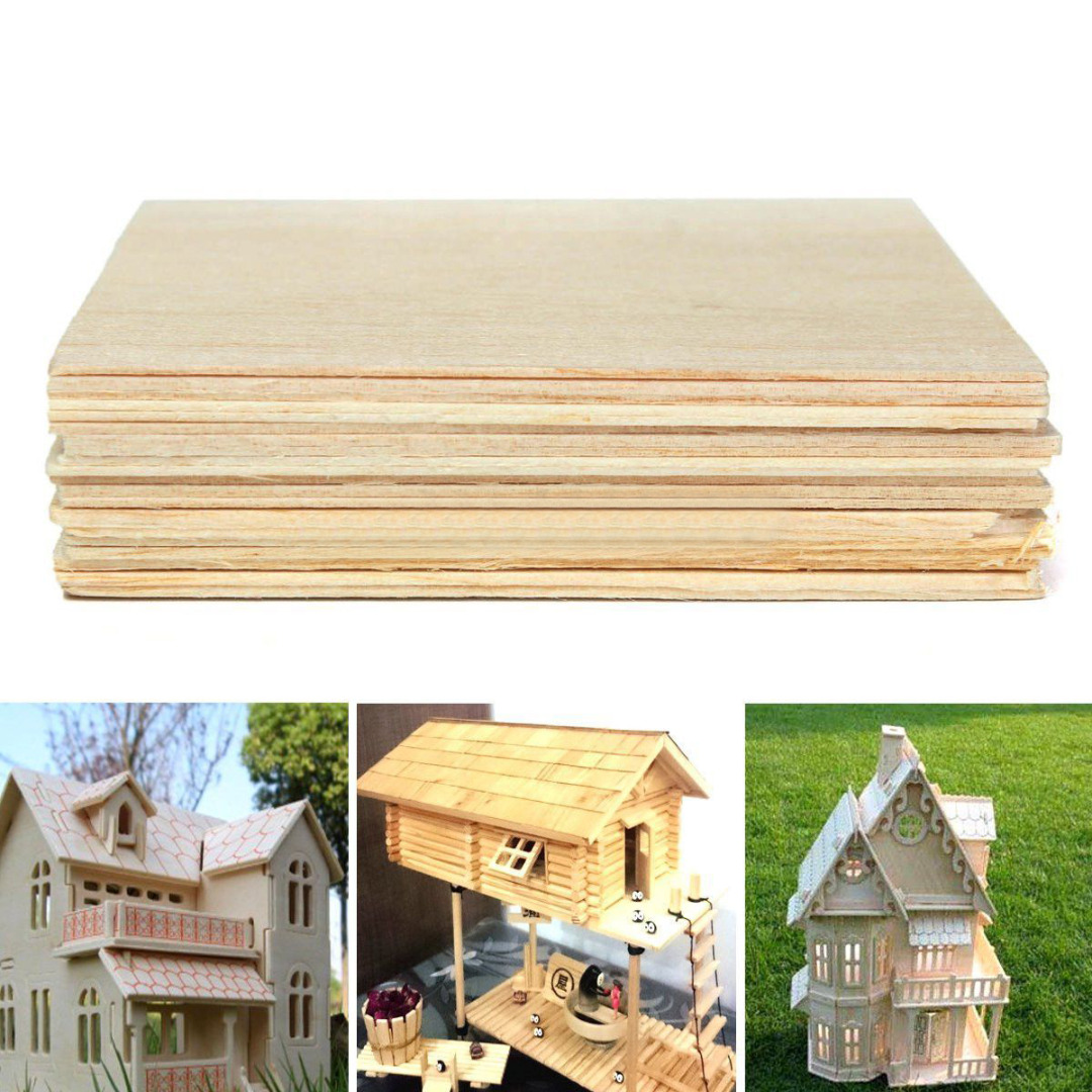 20pcs/set Balsa Wood Sheets Wooden Plate Model For DIY House Ship Aircraft 100x100x1mm aaa balsa wood sheet ply 25 sheets 100x80x1mm model balsa wood can be used for military models etc smooth diy free shipping