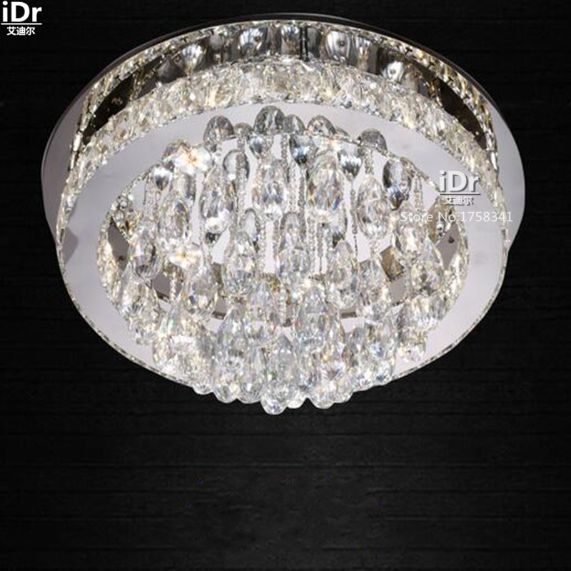 Modern Stainless Steel Circular Living Room Lamp Bedroom Led Crystal Light Project New Ceiling Lights