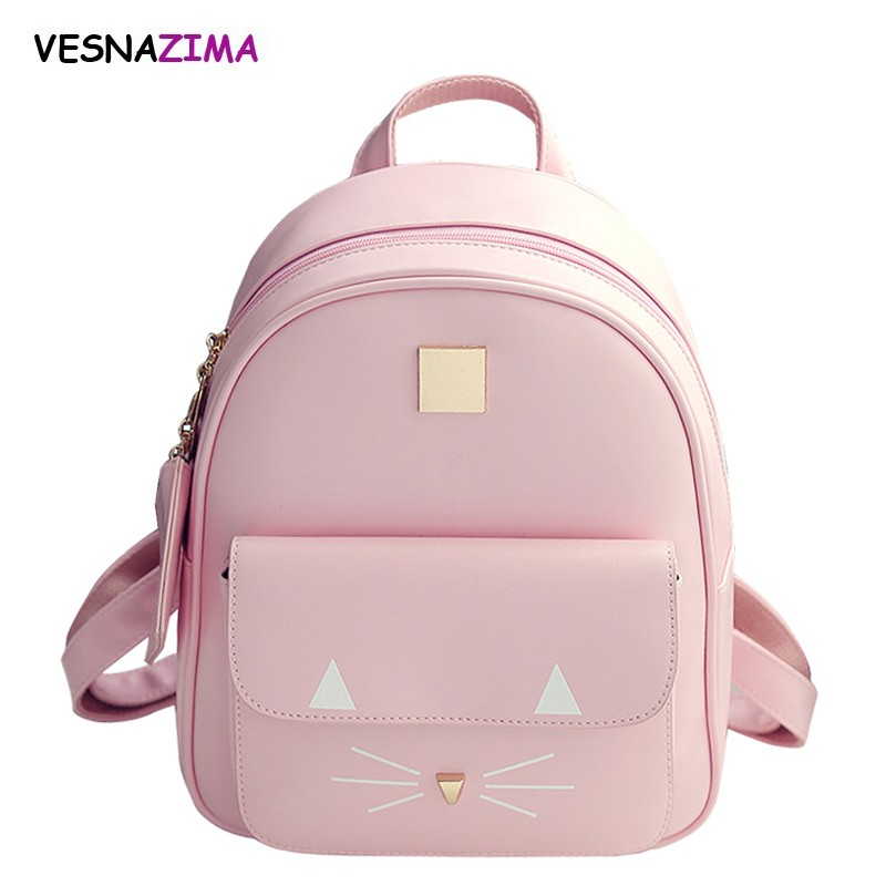 Hot Brand Backpack Women Backpacks Fashion Cat Printing Mini School Bag For Girl Pink Pu Leather Female Backpack Sac A Dos Wm04x