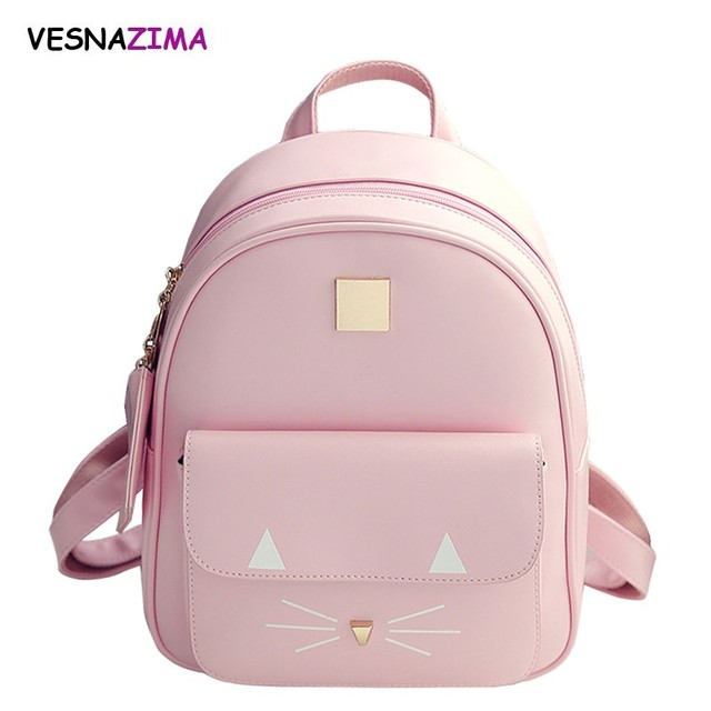 Hot Brand Backpack Women Backpacks Fashion Cat Printing Mini School Bag for  Girl Pink PU Leather d1f88946b69d8