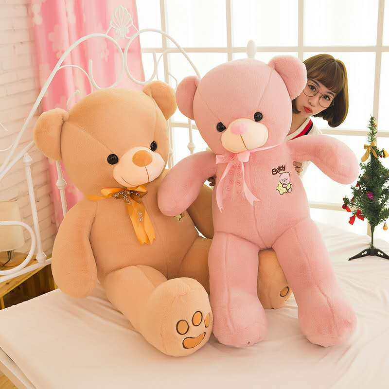 100cm 120cm 80cm Giant Big Cute Plush Stuffed Teddy Bear Soft 100% with tie Toy fancytrader biggest in the world pluch bear toys real jumbo 134 340cm huge giant plush stuffed bear 2 sizes ft90451