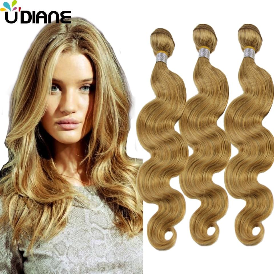 Pure Blonde Body Wave Hair Weave 3pcs Strawberry Blonde Human Hair