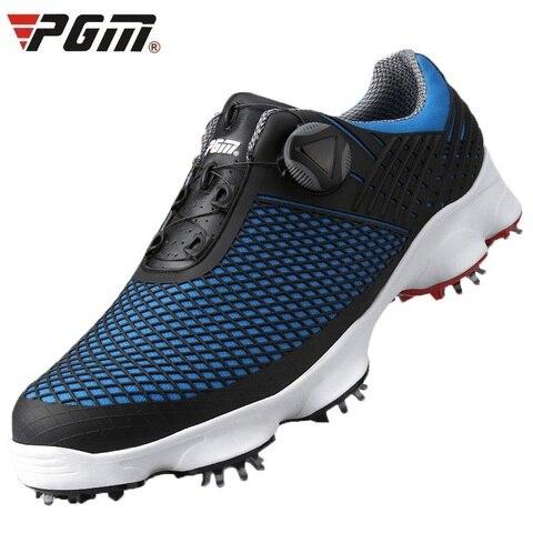 Sapatos de Golfe Pgm à Prova Dwaterproof Água Homem Respirável Untii-deslizamento Spikes Sapatos Esportivos Botões Fivela Cadarço Golfe – Tênis D0575