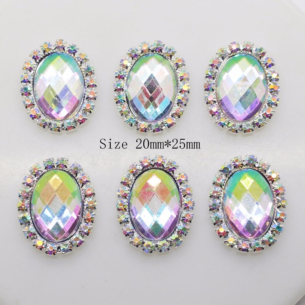 10 шт./лот 20*25 мм Rhinestone овальная Кнопка металлическая брошь кнопку алмазов Flatback украшение для волос свадебный лента для творчества Декор