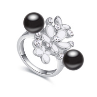 Fashion Ring Butterfly Flower Pearl Crystal Enamel Jewelry Ring Made With Swarovski Elements Crystal Top Quality