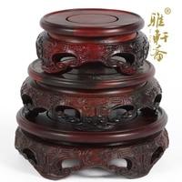 Zhai Red Rosewood Carving Ruyi Gallery Base Three Pieces Of Wood Flower Jade Teapot Circular