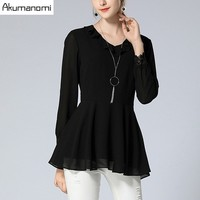 Autumn Winter Chiffon Blouses Black Ruffles V neck Full Sleeve Lace Cuffs Women's Clothes Spring A line Tops Shirt Plus Size 5XL