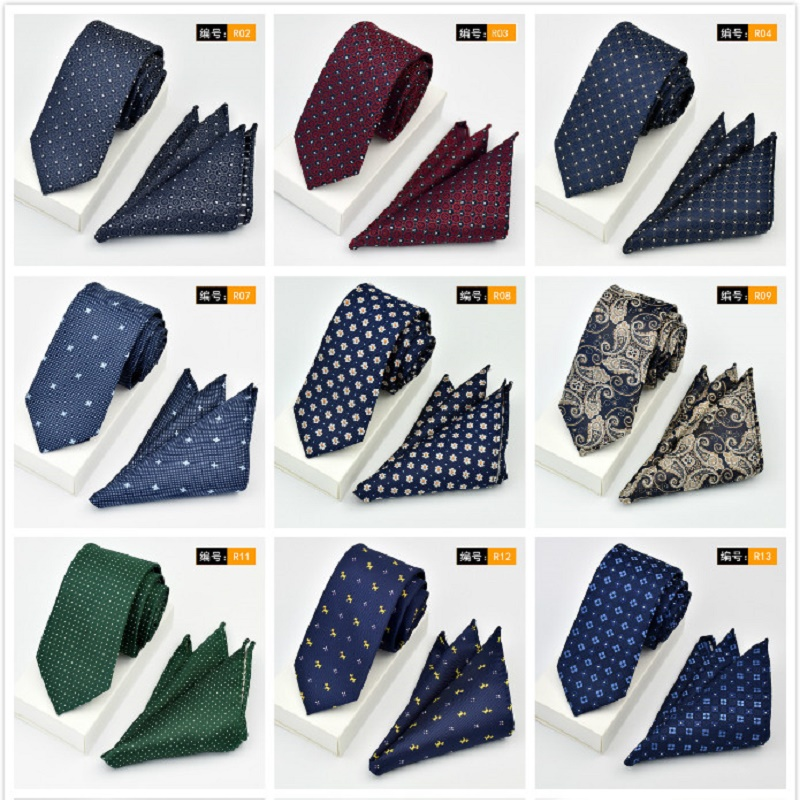 (50 Pcs/Lot) Mens Silk Luxury Neckties Set (Neck Tie & Handkerchief) Classic Men's Wedding Party Pocket Square Hankies Ties