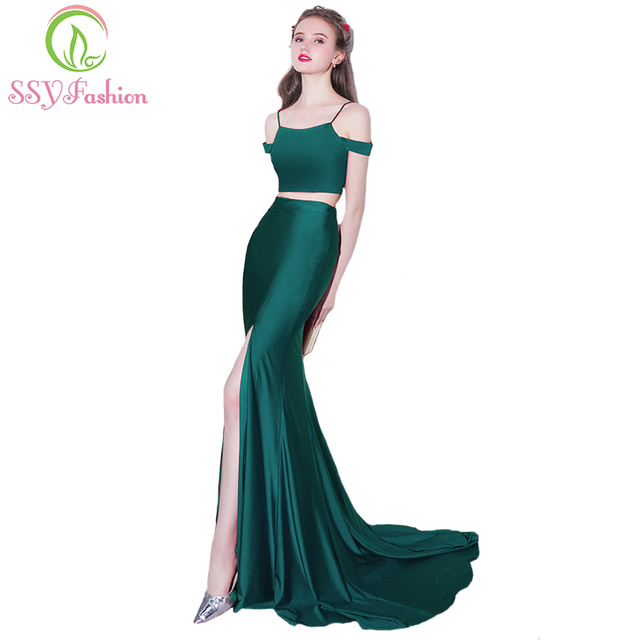 2d11eeff896 SSYFashion New Evening Dress Sexy Slim Fishtail Green Sweep Train Two  Pieces Simple Satin Mermaid High Split Prom Party Gowns