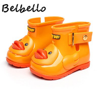 Belbello Baby Girls Rainboots Children Flats Kid Shoes Ankle Boots Slip On Cute Duck Fashion Casual