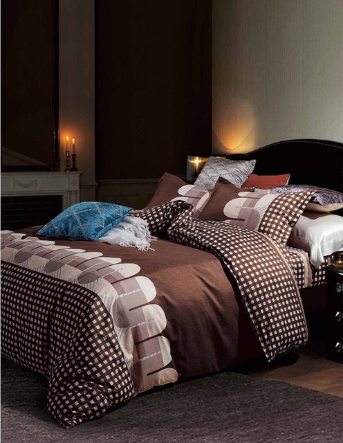 Bedding Sets Russia Europe Size Luxury Duvet Cover Set Single King Queen Family Linens Set Bedclothes Coffee 220x240