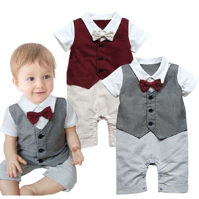 Newborn Clothes Summer Baby Boy Rompers Gentleman Bebes Short Sleeve Romper with Bow Tie Infantil Clothes Kids Jumpsuit Costume