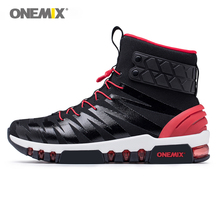 ONEMIX Men Boots Running Shoes for Women Sneakers High Top Outdoor Walking Trekking Sneaker Big Size 46 Black