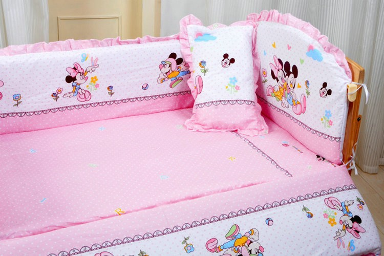 Promotion! 6PCS cartoon Baby Cot Crib Bedding set Embroidery Crib Quilt Sheet Bumpers (3bumper+matress+pillow+duvet) ...