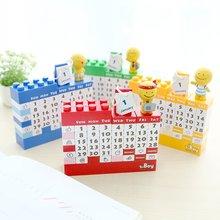 2018 Cartoon doll diy plastic handmade building blocks calendar creative Decoration calendar Table Calendar toy brick