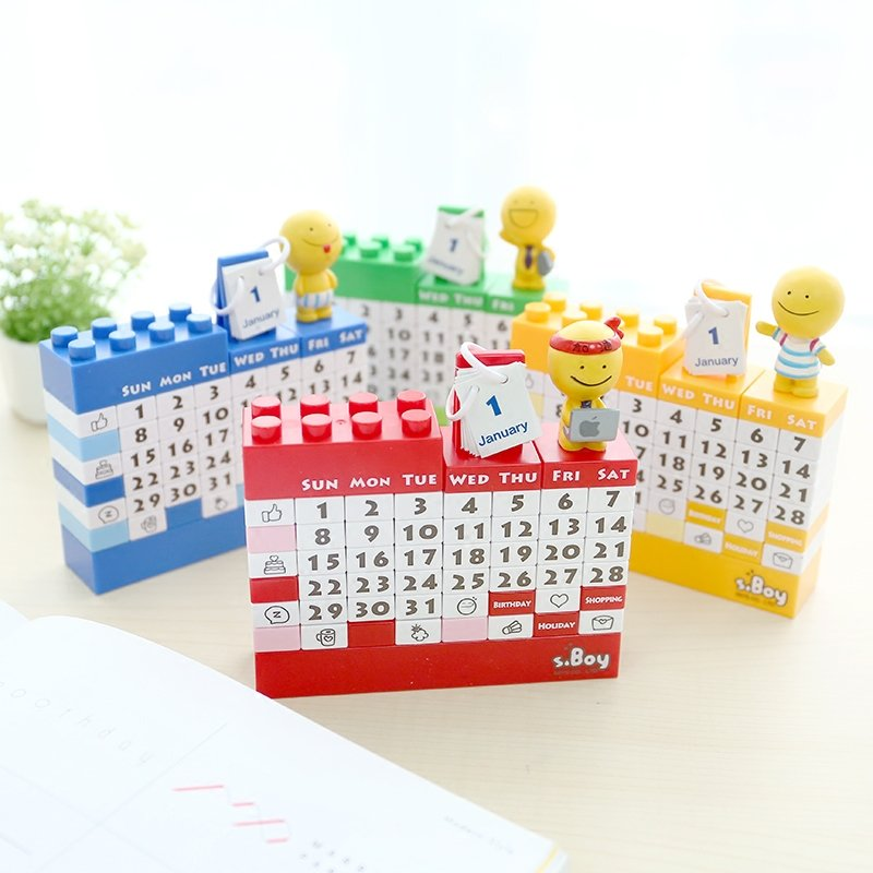 Calendar Blocks Diy : Cartoon doll diy plastic handmade building blocks