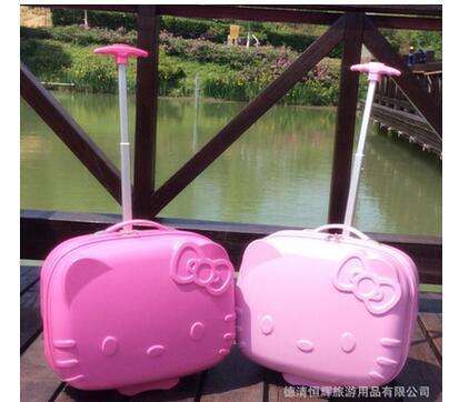 """ABS + PC de Hello Kitty Niños de Los Niños de 17 """"pulgadas Caso De Ruedas De Equipaje Trolley de Viaje de Embarque maleta con Ruedas Maletas Para El cabrito"""